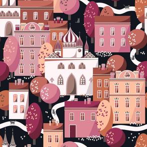 Evening cat walk, Pink houses on black background