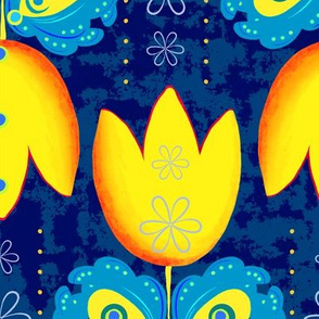 Large yellow tulips on a dark blue background