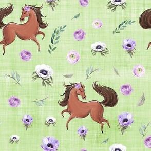 purple horse green linen