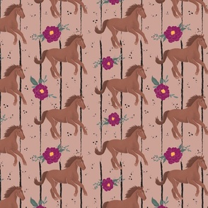 Wild Horses and Flowers with stripes and dots