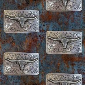 Longhorn on corroded steel