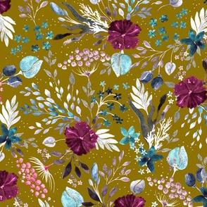 Wild Grasses, burgundy flowers, fragile blades of grass on a mustard background