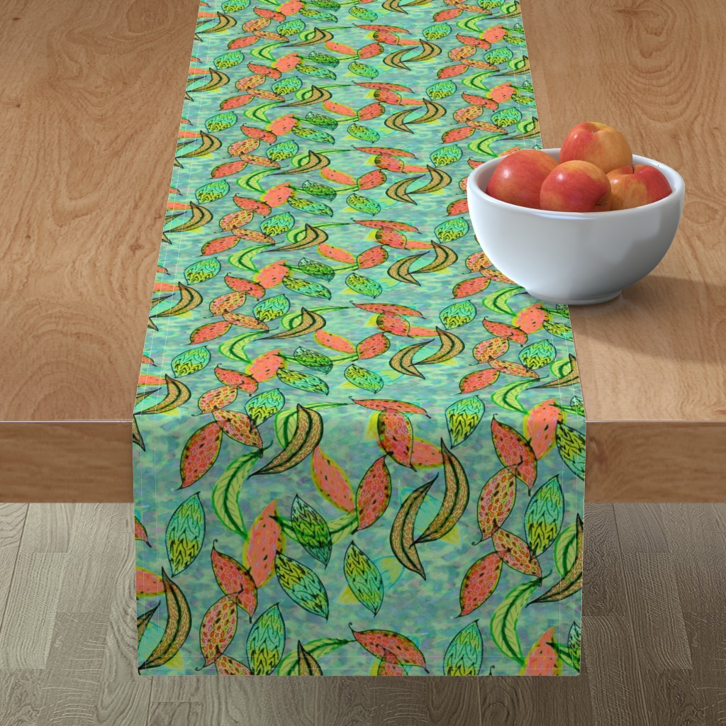 Minorca Table Runner featuring Love leaves, blue-green background by Su_G_©SuSchaefer by su_g
