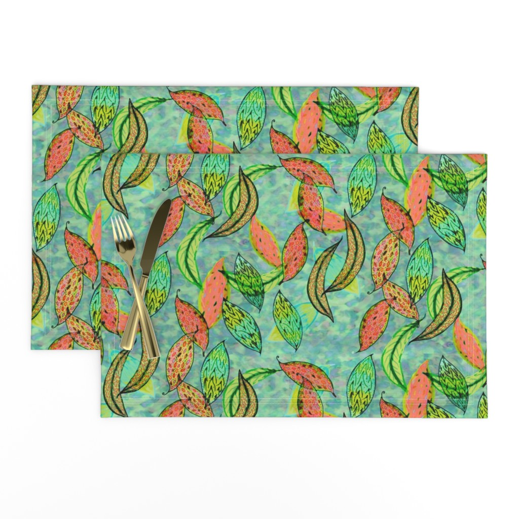 Lamona Cloth Placemats featuring Love leaves, blue-green background by Su_G_©SuSchaefer by su_g
