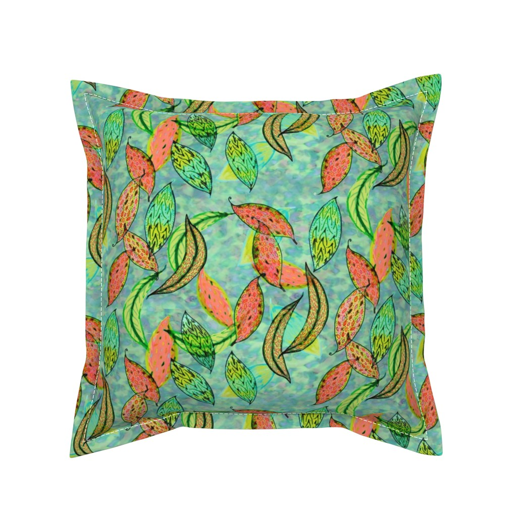 Serama Throw Pillow featuring Love leaves, blue-green background by Su_G_©SuSchaefer by su_g