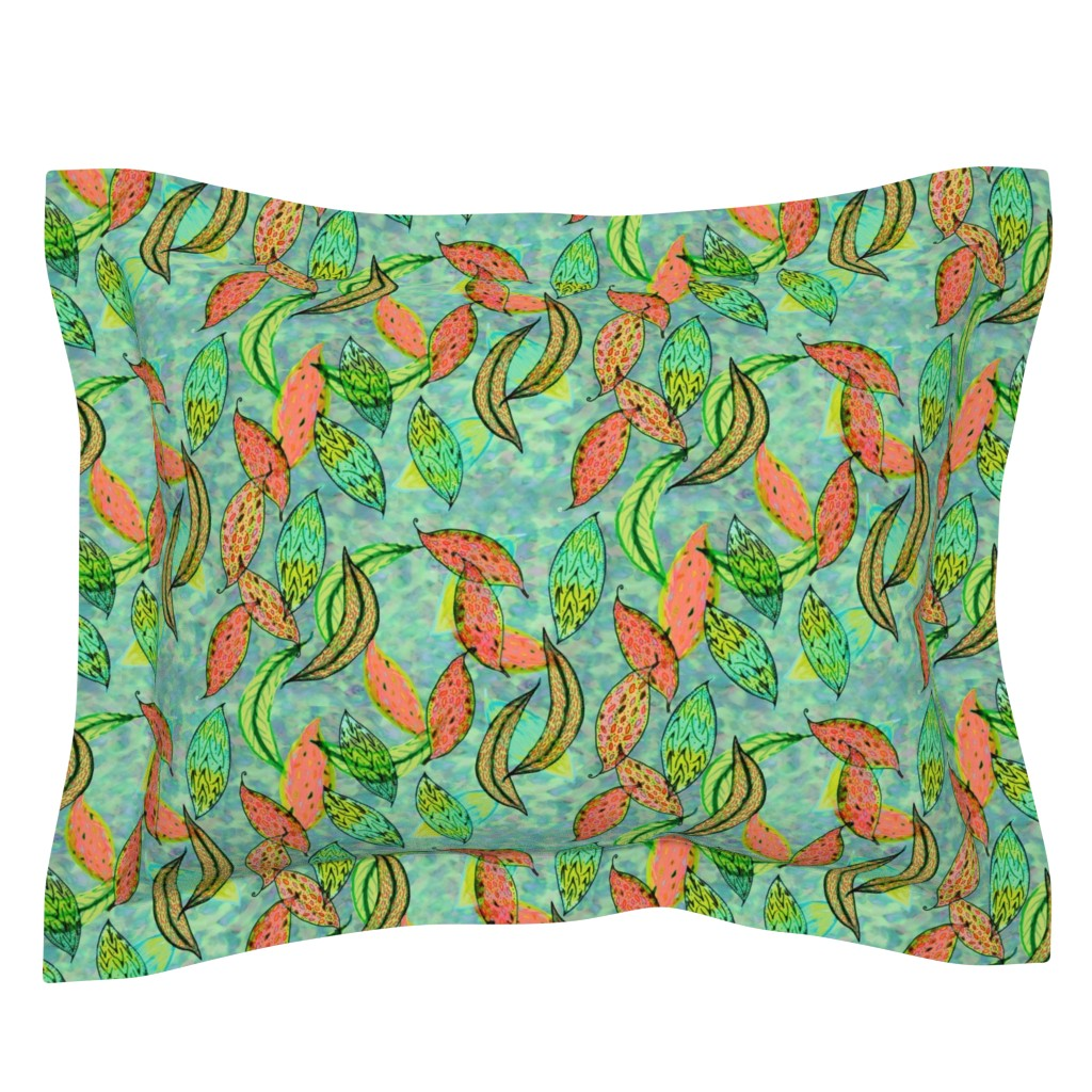 Sebright Pillow Sham featuring Love leaves, blue-green background by Su_G_©SuSchaefer by su_g