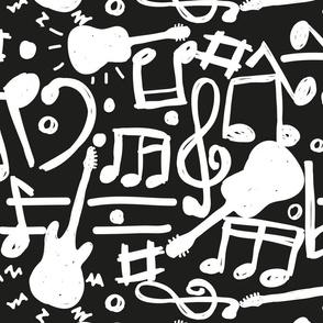 music and guitars black Big size- Black