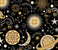 Galaxy Mandala- Bohemian Space Adventure- Goldenrod Isabelline Honey on Black- Large Scale