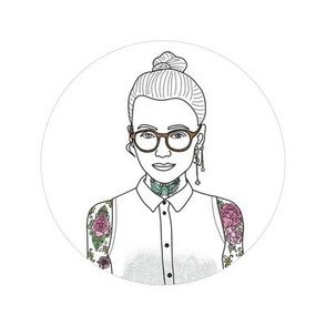 Hipster girl embroidery pattern