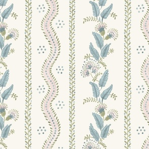 Pale pink_ Sage and blue on Cream