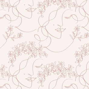 lineart busk flower crown