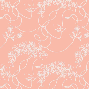 lineart busk flower crown _Coral
