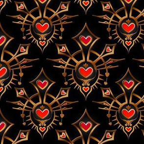 Heart Crown Damask