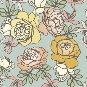 Climbing Roses in Pastels