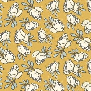 Rose Buds in Ivory and Yellow