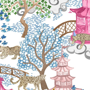 Custom Ruth Party Leopards in Pagoda Forest blue teal copy