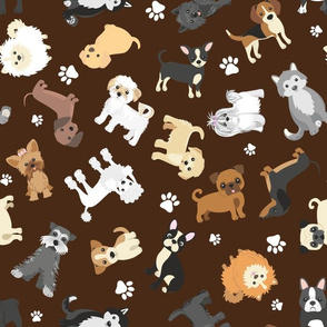 Multidirectional Cute Puppy Dogs on Brown