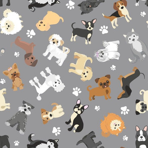 Multidirectional Cute Puppy Dogs on Gray