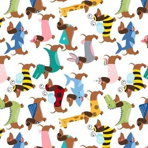 rotated dachshund dogs in costumes pattern small scale