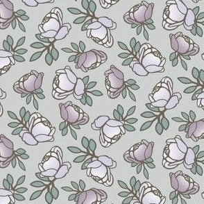 Rose Buds in Gray and Purple