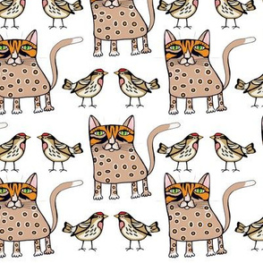 Polka  dots cat  and  bird on  white