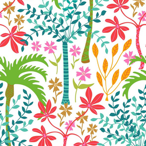 Tropicalia - Tropical Botanical with Palm Trees and Plants - Bright Pink Green Blue Orange Yellow Red Brown - White Background - LARGE Scale - UnBlink Studio by Jackie Tahara