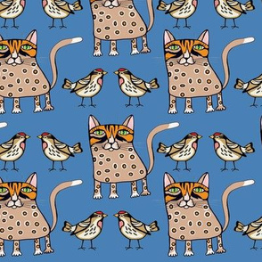 Polka dots cat and bird on blue