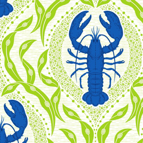 Lobster and Seaweed Nautical Damask - white cobalt blue bright green - large scale-01