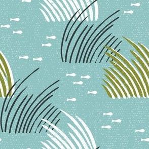 Sea Grass Eel Grass Wild Grass Teal Medium Scale