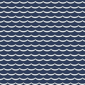 Navy and white scallop, waves. Navy blue and pure white scalloped pattern on fabric, wallpaper and decor.