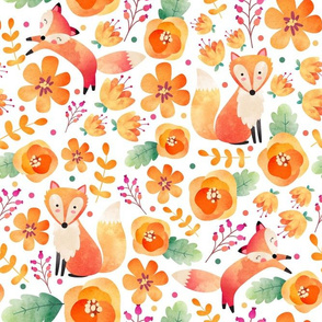 Large Scale - Flowery Fox Friends - White Background