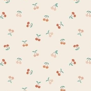 mini micro // tiny cherries in pink and coral cherry fabric