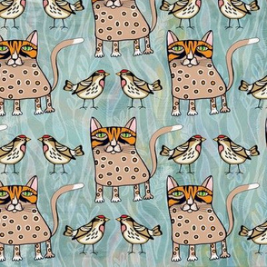 Polka  dots cat and bird on turquoise