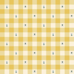 Small Scale - Yellow Gingham With Flies