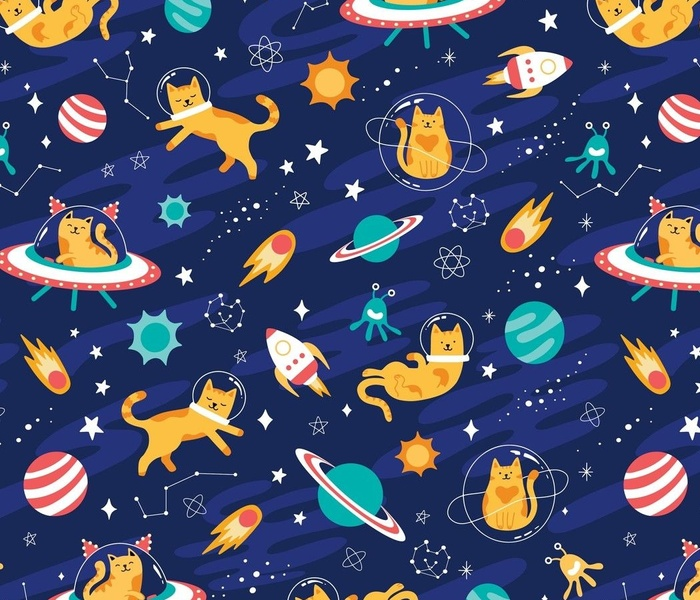 Large Intergalactic Space Cats Alien Planets, Cosmos Constellations & stars