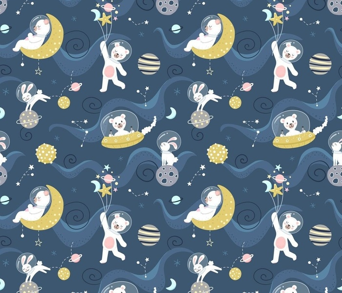 Cute bears and bunnies in space