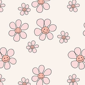Little smiley flower power boho flowers seventies vintage retro style  ivory cream pink blush