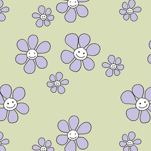 Little smiley flower power boho flowers seventies vintage retro style mint green lilac lavender