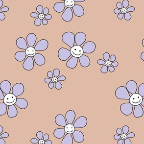 Little smiley flower power boho flowers seventies vintage retro style latte beige lilac lavender