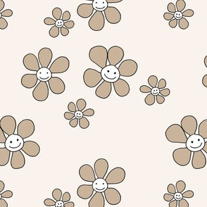 Little smiley flower power boho flowers seventies vintage retro style neutral beige sand
