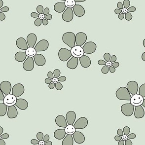 Little smiley flower power boho flowers seventies vintage retro style neutral mint olive green