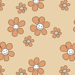 Little smiley flower power boho flowers seventies vintage retro style camel beige orange