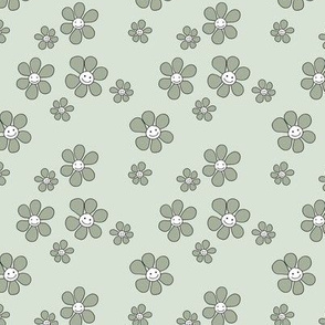 Little smiley flower power boho flowers seventies vintage retro style neutral mint olive green SMALL