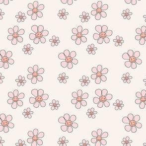 Little smiley flower power boho flowers seventies vintage retro style  ivory cream pink blush SMALL