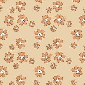 Little smiley flower power boho flowers seventies vintage retro style camel beige orange SMALL