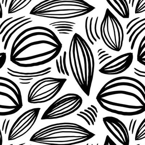Abstract organic Scandinavian style shells leaf shapes nursery monochrome black and white