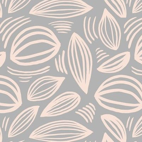 Abstract organic Scandinavian style shells leaf shapes nursery soft gray blush nude