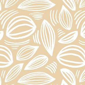 Abstract organic Scandinavian style shells leaf shapes nursery butter yellow camel white