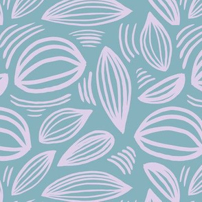 Abstract organic Scandinavian style shells leaf shapes nursery sea green lilac purple