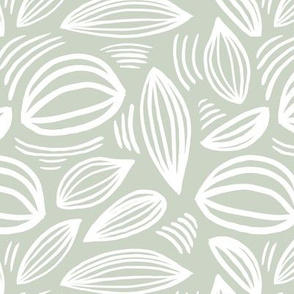 Abstract organic Scandinavian style shells leaf shapes nursery mist green white